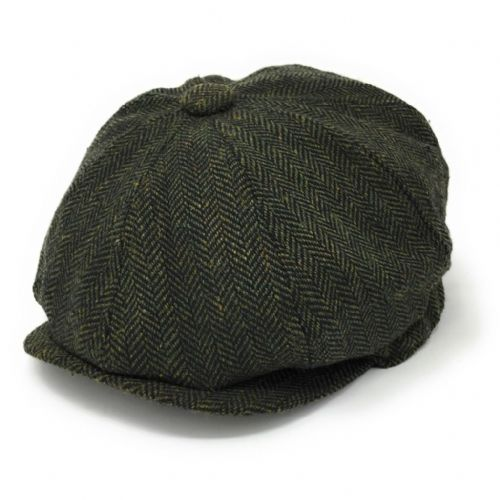 8-piece cap with elastic back. Herringbone. Wool Blend. Green/ Fawn/Brown